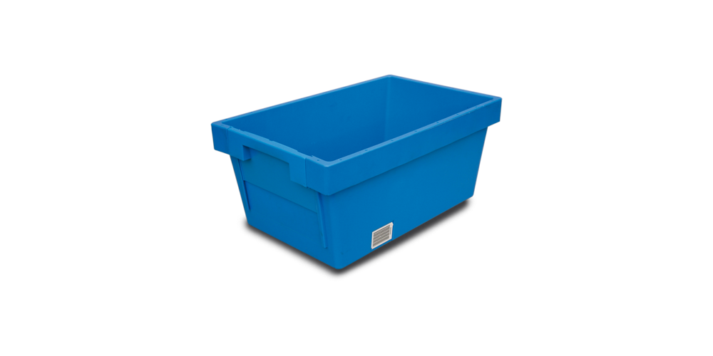 Solid Nestable Container with Sliding Wall