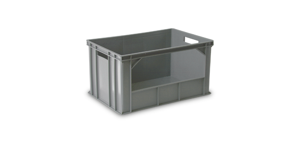 Euro Stackable Container 600x400x320 mm. with long-side opening and open handles
