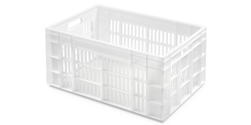 Euro Stackable Container with Perforated Walls and Solid Base