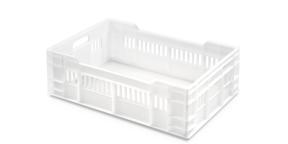 Euro Stackable Container with Half Perforated Walls and Solid Base
