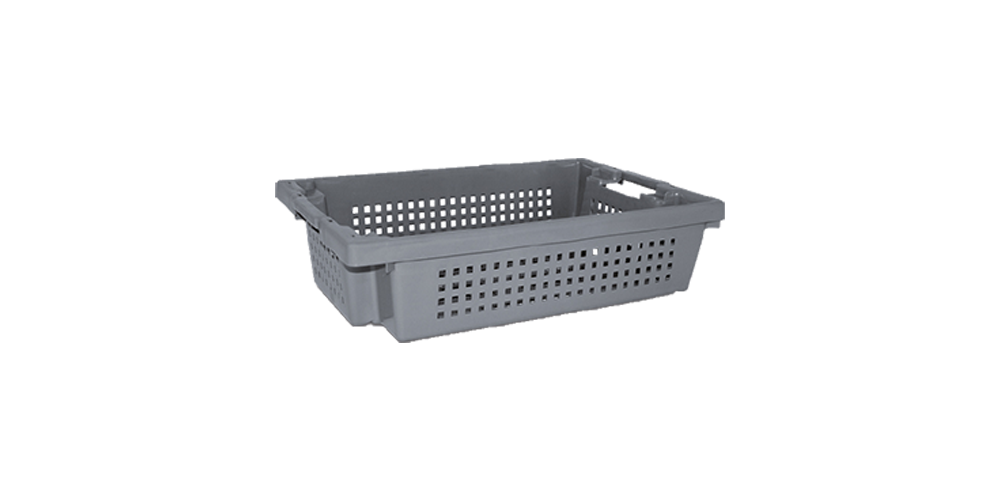 Euro Stack and Nest Container, Perforated Walls and Base, Open Hand Grips