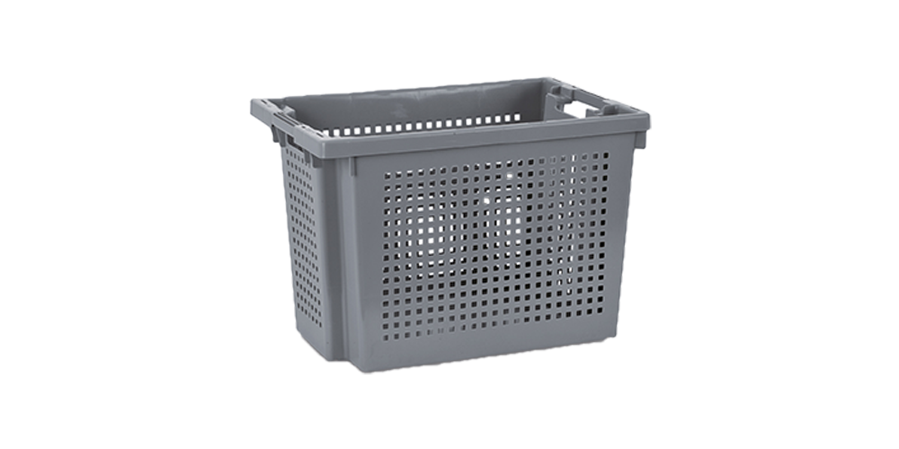 Euro Stack and Nest Container, Perforated Walls and Solid Base, Open Hand Grips