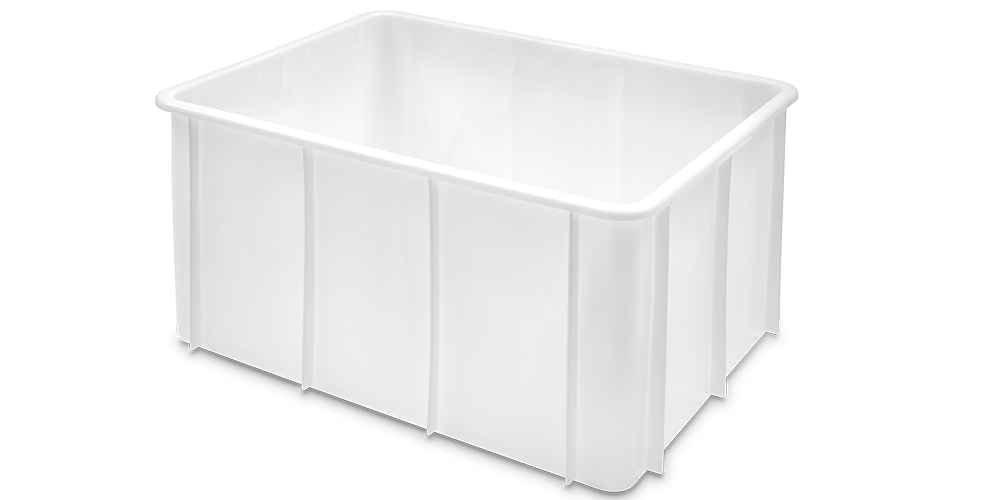 Stackable Container with Curved Lips and Reinforced Base