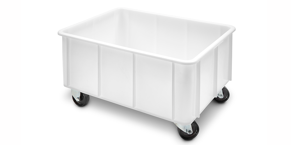 Stackable Container with Curved Lips and Wheels