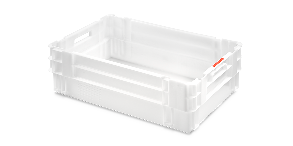 Euro Stack Nest Container with Solid Walls and Base, Open Hand Grips