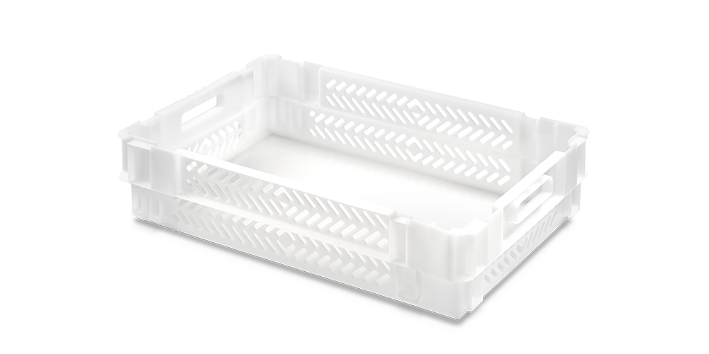 Euro Stack Nest Container, Perforated Walls and Solid Base, Open Hand Grips