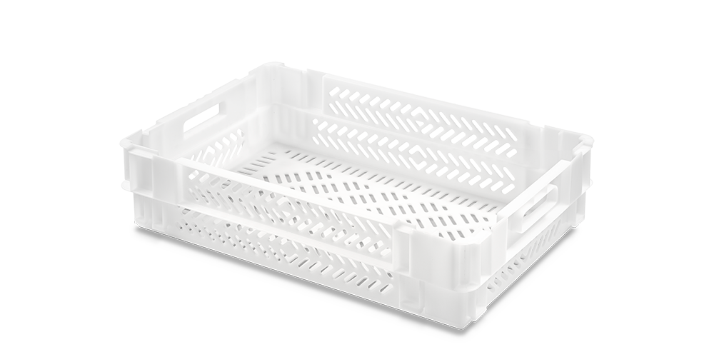 Euro Stack Nest Container with Perforated Walls and Base, Open Hand Grips
