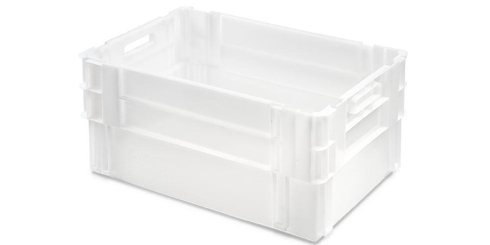 Euro Stack Nest Container, Solid Walls and Base, Open Hand Grips