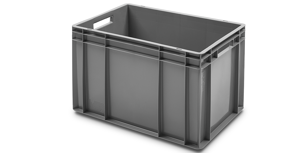 Euro Stackable Solid Container with Closed Hand Grips