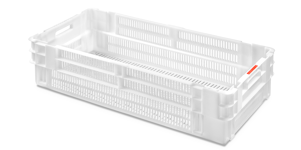 Euro Stack Nest Container, Perforated Walls and Base, Open Hand Grips